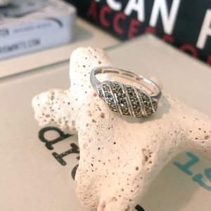 Sterling 925 Ring with Pave Stones
